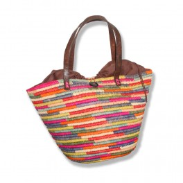 sac a main en raphia crochet fait main multicolore