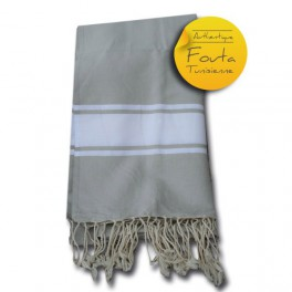 Fouta tunisienne tendre gris